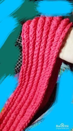 棒针图解-单面鱼骨针的围巾织法