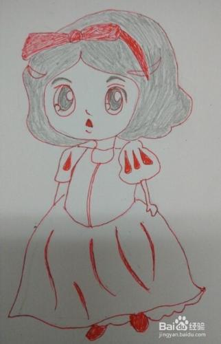 简笔画[可爱白雪公主]的画法