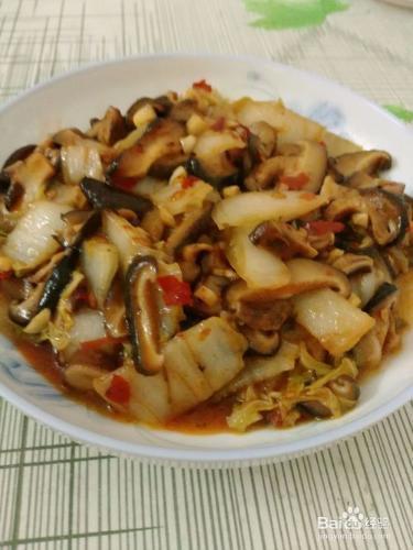 香菇炒白菜的做法